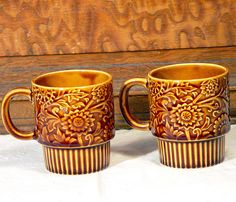 Honey Brown Floral Mugs 1970's Retro Stacking Coffee Cups