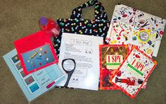 "The ""I Spy"" Bag Hello! I have a couple more homework bags to share with you. One of them is the ""I Spy"" bag. It has some ""I Spy"" books to. Literacy Bags, Emergent Literacy, Kindergarten Activities, Literacy Centers, Literacy Strategies, Alphabet Activities, Educational Activities, Reading Tutoring, Quiet Time Activities"