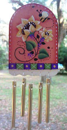 Handpainted Sunflowers and Bee Windchimes by stephskeepsakes, $8.50