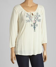 Look at this #zulilyfind! Natural Geometric Peasant Top - Plus by Simply Irresistible #zulilyfinds
