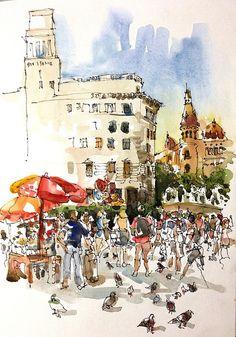 Placa Catalunya, by Suhita Shirodkar at Urban Sketches Symposium 2013 - Barcelona.