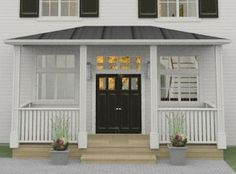 New England, entrance New England Hus, New England Style, Double Front Doors, House Elevation, Black Doors, Entrance Doors, Black House, New Homes, Home And Garden
