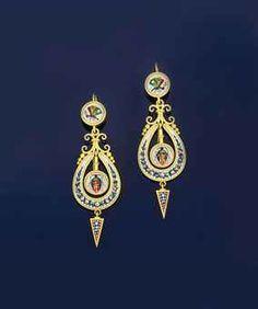 Micro Mosaic Jewelry   pair of 19th century micro-mosaic earrings   Jewelry Auction   Jewelry ...