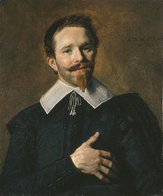 """Frans HALS, """"Portrait d'un homme dit L'Homme à la main sur le cœur """" (Anvers, vers 1580 – Haarlem, 1660) Portrait d'un homme dit « L'Homme à la main sur le cœur » Daté en haut à droite : AETATIS SVAE 26 ANN° 1632"""