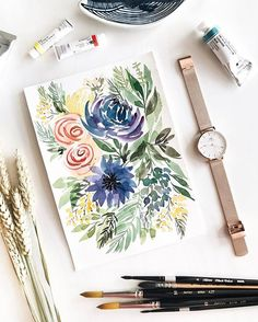 "Floral composition practice! Experimenting with mixing different elements and types of florals and leaves. Paints: Holbein & Mission Gold watercolours p.s Don't forget to use my code ""ronnycakes"" for 15% off everything on danielwellington.com including their gorgeous new range of Melrose Petite watches #ClassicPetite #DanielWellington"