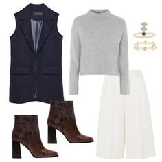 Wear- outfitted- a tailored vest over a mock neck sweater paired with crisp white culottes & ankle boots How To Wear Ankle Boots, How To Wear Leggings, White Culottes, Jeans Wedding, How To Wear Culottes, Spring Fashion, Winter Fashion, Winter Outfits For Work, Work Outfits