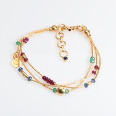 $4900 Gurhan Merlin 3 strand gold ruby emerald and sapphire bracelet