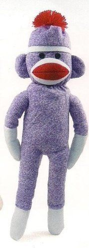 NEW Purple 20 Inch Plush Sock Monkey