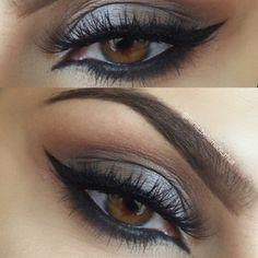 shimmery grey smokey eye w/ arabic winged liner @rania_bellamarie_mua #makeup neutral / cool-toned #taupe