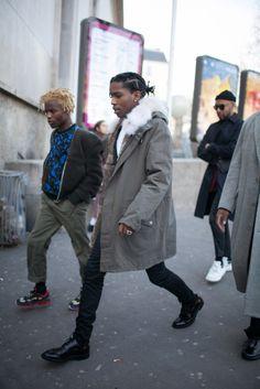 pretty fashion paris asap rocky ASAP fashion show ASAP MOB pretty flacko ian connor jiggynigga asap forever swosye Fashion Updates, Fashion News, Men's Fashion, Fasion, Fashion Clothes, Kanye West, Asap Rocky Outfits, Asap Rocky Fashion, Pretty Flacko