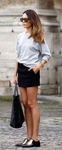 #street #style minimal / gray knit + gold @wachabuy