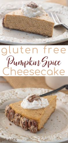 Gluten-free Pumpkin Spice Cheesecake with Bourbon-Maple whipped cream and sugared pecans is a delicious fall dessert recipe. A great alternative to pumpkin pie for your Thanksgiving dessert, this pumpkin cheesecake is sure to delight your guests. | What A Girl Eats Fall Dessert Recipes, Fall Desserts, Delicious Desserts, Dessert Ideas, Fall Recipes, Best Gluten Free Recipes, Sweet Recipes, Vegan Recipes, Pumpkin Dessert