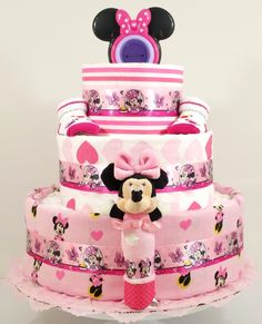 Beautiful Bows Minnie Mouse Baby Diaper Cake - As Your Baby Grows Gift Boutique - 1 Baby Shower Niño, Baby Shower Diapers, Baby Shower Cakes, Baby Shower Themes, Baby Shower Gifts, Baby Gifts, Shower Ideas, Baby Showers, Diaper Cake Boy