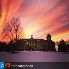 Fire in the sky over Alumni Hall on January 27, 2014. Thanks to @teresasamson on Instagram.