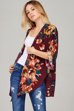 The side cuts make this cardigan able to be tied as well. Floral Cardigan, Kimono Cardigan, Open Cardigan, Kimono Top, Side Cuts, Quarter Sleeve, Floral Prints, Wine, Sleeves