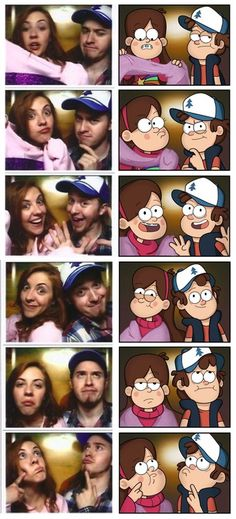 Alex Hirsch, creator of Gravity Falls, and Ariel Hirsch as Dipper and Mabel Pines. Disney Pixar, Disney And Dreamworks, Disney Movies, Fanart, Dipper Y Mabel, Dipper Pines, Monster Falls, Desenhos Gravity Falls, Gavity Falls