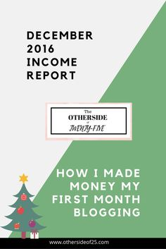 First Ever Income Report for The Otherside of 25. Learn how I earned $0.52 my first month blogging! http://www.othersideof25.com/income-report-december-2016/