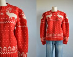 Vintage 50s Wool Reindeer Fair Isle Sweater / 50s Hand Knit Holiday Christmas Sweater Red Cream by zestvintage on Etsy https://www.etsy.com/listing/213766421/vintage-50s-wool-reindeer-fair-isle