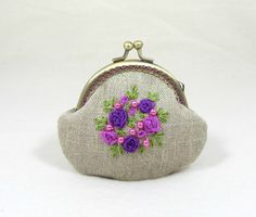 Linen coin purse, hand embroidered coin purse, embroidered linen purse, floral linen pouch, organza ribbon purse by JRsbags on Etsy