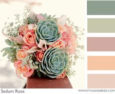 These colors are gorgeous together.  Use of succulents is so popular now.
