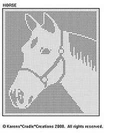 HORSE Filet Crochet Pattern in Crafts, Needlecrafts & Yarn, Crocheting & Knitting Filet Crochet Charts, C2c Crochet, Thread Crochet, Crochet Stitches, Crochet Curtain Pattern, Crochet Curtains, Cross Stitch Embroidery, Cross Stitch Patterns, Swedish Weaving Patterns