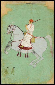 Maharaja Dhiraj Singh riding - from Raghugarh - c. 1700 - Dhiraj Singh, Maharaja of Raghogarh (ruled 1697 - 1726) - gouache on paper - Lent by Howard Hodgkin - Image © Ashmolean Museum, University of Oxford http://jameelcentre.ashmolean.org/object/LI118.34
