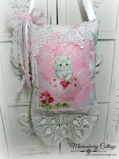 White Kitten pink Teapot KEEPSAKE Gift Pillow w/matching tag and sachet