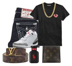A menswear look from March 2017 featuring mens graphic t shirts, true religion mens jeans and mens silver chains. Browse and shop related looks. Teen Swag Outfits, Dope Outfits For Guys, Stylish Mens Outfits, Tomboy Outfits, Urban Outfits, Men's Outfits, Casual Outfits, Teen Boy Fashion, Tomboy Fashion