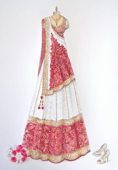 Pink and white bridal designer lehenga. Indian Fashion and Clothing. Pink and white bridal designer lehenga. Indian Fashion and Clothing. Wedding Dress Sketches, Dress Design Sketches, Fashion Design Drawings, Fashion Sketches, Drawing Sketches, Fashion Drawing Dresses, Fashion Illustration Dresses, Indian Dresses, Indian Outfits