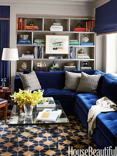 Navy sofa with a great bookcase. #apartment