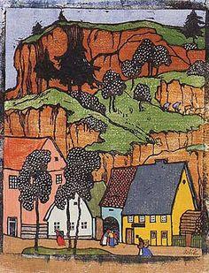 """Emil Orlik - """"Village with Hills"""", 1905"""