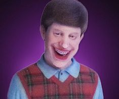 Bad Luck Brian 3D Printed Figurine . Stay positive by reminding yourself of those less fortunate than yourself with the Bad Luck Brian 3D printe...