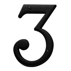 Baldwin 90673 Solid Brass Residential House Number 3 Satin Black Home Accents Address Numbers 3