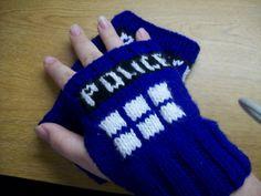 Tardis wrist warmers - knitting for @Ashley Hilton and @Karlie Donovan Lewis
