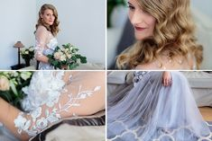 A stunning grey wedding dress with white lace flowers that goes very nice with a greenery bridal bouquet, designed by Oana Lupas Flower Bouquets, Bridal Flowers, Lace Flowers, Flower Girl Dresses, Greece Wedding, Gray Weddings, Bridal Portraits, Beautiful Bride, Dress Making