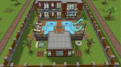 Modern design home for the Justice family with teen daughter and kitten- rear view exterior and back yard - in my Sims Freeplay.