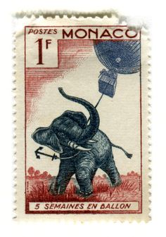 """Such personality! Monaco Postage Stamp """"5 Semaines en Ballon"""" (c. 1955), part of the Jules Verne anniversary series. via Vintage Postage Stamps"""