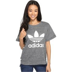 adidas Originals Drawcord Tee (Medium Grey Heather) Women's T Shirt ($55) ❤ liked on Polyvore featuring tops, t-shirts, crew-neck tee, lace up t shirt, heather t shirt, heather gray t shirt and lace up top