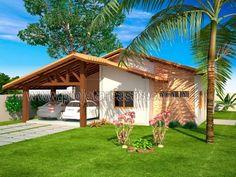 Projetar Casas | Projeto de casa térrea com 2 quartos e 1 suíte, varanda e garagem para 2 carros - Cód 21