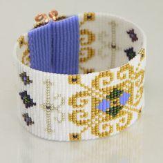 Renaissance Frozen Style Wide Cuff Bead Loom Bracelet Artisanal Jewelry Disney Motif Western Beaded Gypsy Boho Bohemian Gold Pearl by PuebloAndCo on Etsy https://www.etsy.com/listing/217493362/renaissance-frozen-style-wide-cuff-bead