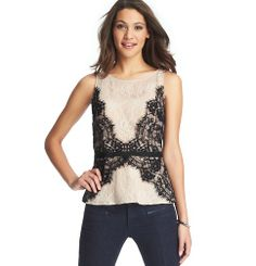 Lace Peplum Shell from Loft. Could be a DIY with a shell, lace and ribbon.