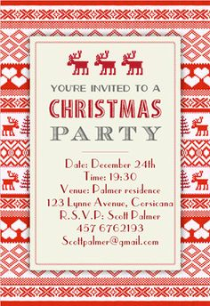 """Love this easy free printable- very easy to use and a lot to choose from. """"Sweaters pattern"""" printable invitation. Customize, add text and photos. print for free!"""