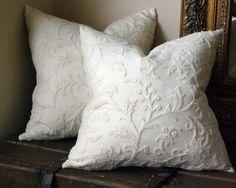 pillow on etsy - love the white on white crewel!