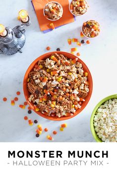 Here's a quick and easy Halloween snack that doubles as a party mix and an afternoon snack. Start with your favorite salty and sweet snacks from your pantry (or the candy aisle at the grocery store). For our monster munch we used candy corn (classic!), popcorn, Reese's Pieces, peanuts and pretzels. Mix together in a Halloween-themed bowl and serve. Featured product includes: Food Network mixing bowls and Celebrate Halloween Together LED candelabra. Get your haunt on at Kohl's.