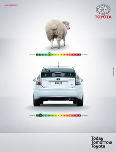 A good example of green marketing and a very clever ad by Toyota. I'd like to see the actual data that proves a Prius has less emissions than a sheep but either way they prove their point about being good for the environment. Toyota Prius, Toyota Cars, Clever Advertising, Car Advertising, Advertising Design, Advert Design, Advertising Campaign, Toyota Hybrid, Web Design