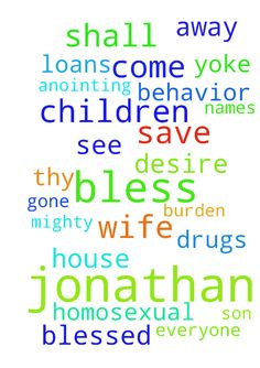Deliverance For Jonathan -  IN THE NAME OF JESUS, I COME AGAINST THE DRUGS AND HOMOSEXUAL BEHAVIOR AND BREAK THEIR HOLD OVER MY SON JONATHAN. EVERY DART AND ARROW THAT TARGETS HIM, IS CRUSHED. ALL DESIRE IS BROKEN, NOW! COVER JONATHAN WITH THE BLOOD OF JESUS AND TURN AWAY ANY THING AND ANYONE FROM HIM THAT IS NOT OF YOU LORD. ALL IN JESUS NAME, AMEN � Isaiah 10:27 And it shall come to pass in that day, that his burden shall be taken away from off thy shoulder, and his yoke from off thy…