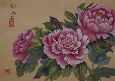 """""""Pink peonies"""" Watercolour painted by me in traditional chinese watercolour technique with chinese ink, paints and brushes. Mounted and ready for frame. Available for purchase."""