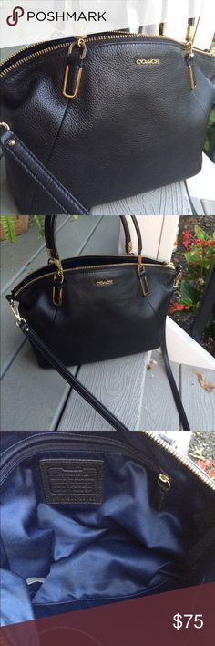 Coach Pebbled Leather Kelsey Bag Beautiful soft black pebbled leather with polish go tone hardware. Want interior with zippered pockets and to open slit pockets. Dual handles with a drop of 5 inches or use the removable shoulder and Crossbody strap with a 21 inch drop. Measures 10 inches at the bottom, 13 inches at the top, 9 inches high, and 2 1/2 inches wide. This purse is in excellent preowned condition. 100% authentic. Coach Bags Satchels