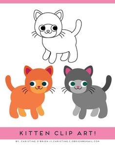 * FREE * K is for Kitten Coloring Page and Mini Clip Art Set | by Christine O'Brien Creative | $Free
