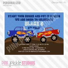MONSTER TRUCK Invitation or Thank You Card by PinkPickleParties, $10.00